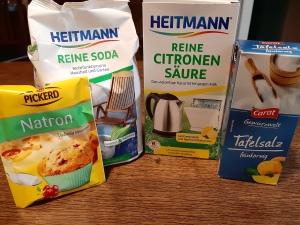 Natron, reines Soda, reine Citronensäure, Salz